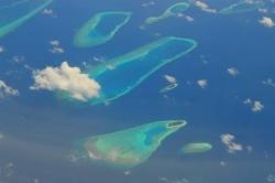 Krásný pohled na Maledivy z letadla