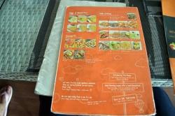 menu restaurace Maledivy, zadní strana