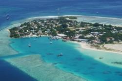 Maledivský ostrov z výšky