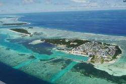 Ostrov Huraa z ptačí perspektivy