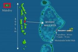 Severní Male atol, mapa Maledivy