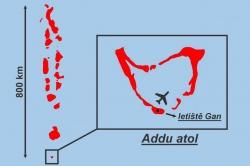 mapa Addu atol Maledivy