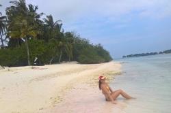 Maledivy na pláži