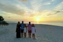 rodinné foto na Maledivách