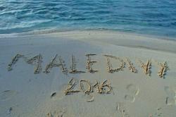 Nápis v písku Maledivy 2016