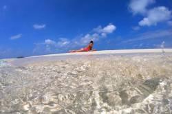 modelka na Maledivách