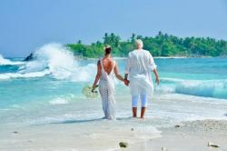 svatební foto na pláži Malediv