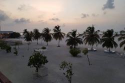 výhled z kavárny na ostrově Gaafaru