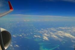 Maledivy a křídlo letadla