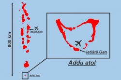 Mapa letiště Gan Maledivy