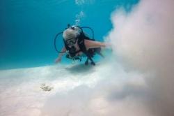potápění Maledivy - foto s pískem