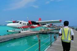 hydroplán na Maledivách