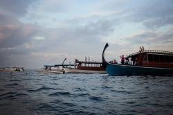 lodě na Maledivách