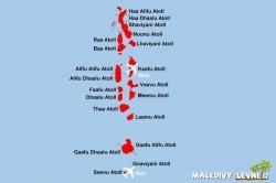 mapa atoly Maledivy