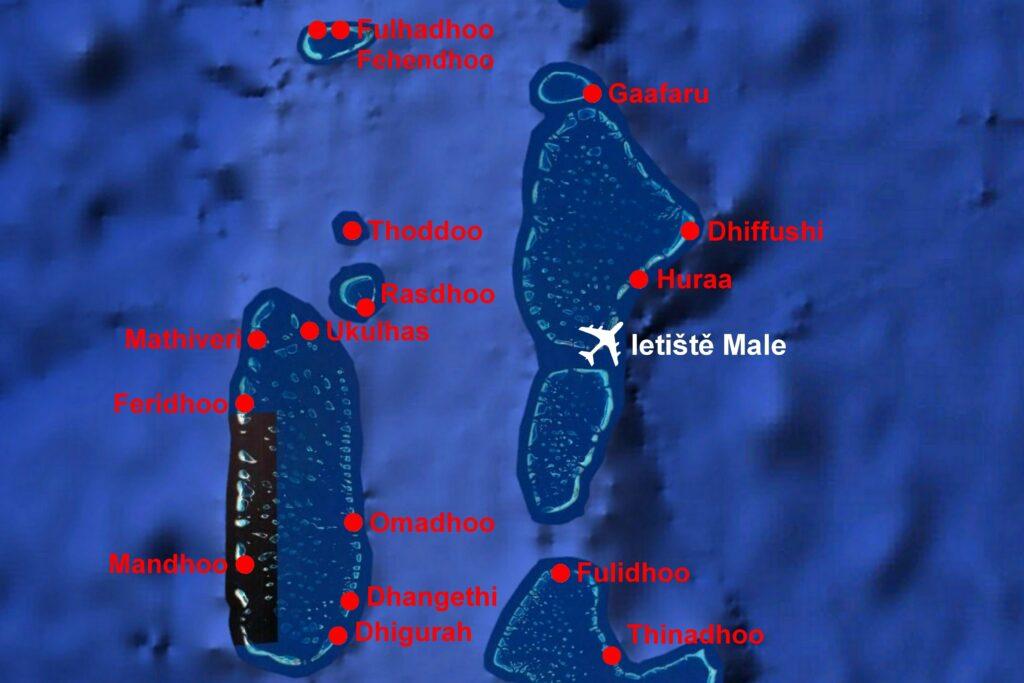 Mapa Maledivy s nabízenými ostrovy
