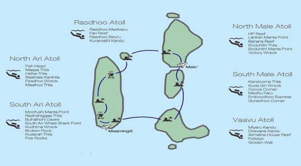 mapa okružní plavby pro potápěče na Maledivách